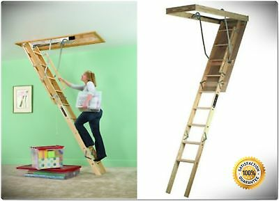 Wood Attic Ladder Steps Stairs Ceiling Pull Down Door Garage Access Storage Area