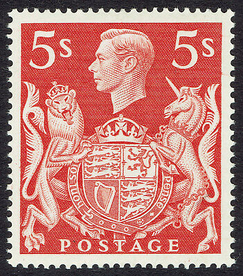 GB KGVI SG477 - 5s RED - 1939 HIGH VALUE - MH FINE MINT - Sc #250