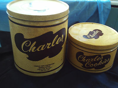 FREE GIFT Charles Vintage Tin Containers Chips and Cookies lot of 2