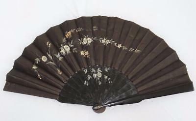Antique Victorian Ebony & Hand Painted Fabric Fan - Flowers - c1880