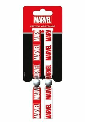 Marvel Comics Pack Of 2 Red And White Logo Fabric Festival Wristband Official