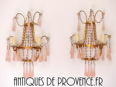 Antique Vintage Pair 2 sconces Beaded Murano RARE Pink Opaline Drops Italian