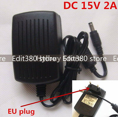Universal DC15V 2A Power Supply Adapter 100V-240V AC to DC 15V 2000MA Charger EU