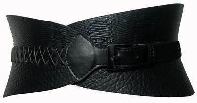 """Peter Lang Black Genuine Leather Wide Stretch Belt Cuff For Women Size 28""""/71cm"""