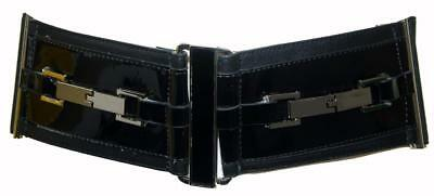 CUE Black Genuine Patent Leather Style P1362 Wide Stretch Womens Belt Size Large