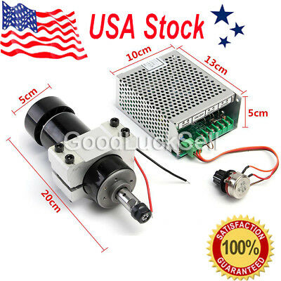 2017 ER11 Chuck CNC 500W Spindle Motor+ 52mm Clamps+ Speed Govern controller USA