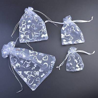 White Heart Printed Organza Bags Wedding Gift Favour Pouch Jewellery 7x9 9x12cm
