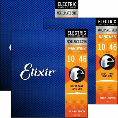 3 Sets Elixir Nanoweb Coated  Electric Guitar Strings - 12052 - 10 -46