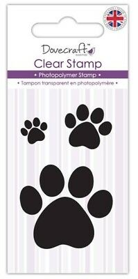Dovecraft Paw Puppy Dog Prints Clear Stamp - Set of 3 - Made in the UK