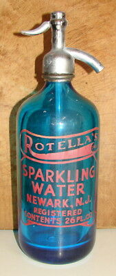 Vintage Rotella's Dark Blue Sparkling Water Seltzer-Newark, Nj