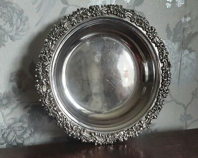 An Antique Silver Plated Bowl with Ornate Rim