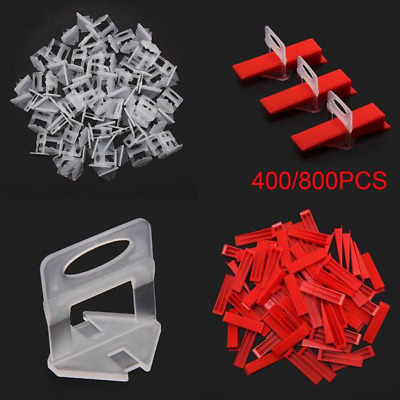 400/800Pcs Tile Leveling System Clips & Wedges Plastic Spacers Tiling Tools UK