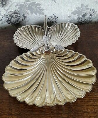 A Vintage Silver Plated Shell Shaped Sectional Dish with Handle, Roberts & Belk