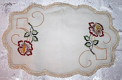 Large Vintage Linen Embroidered Doily