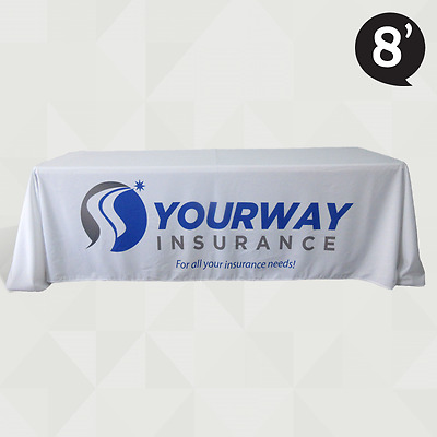 8' Table Cover Custom Printed Company Branded - Table Throw for Trade Show Expo