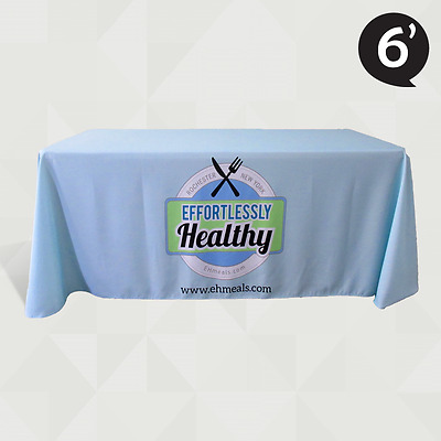6' Custom Printed Company Branded Table Cover - Table Throw for Trade Show Expo