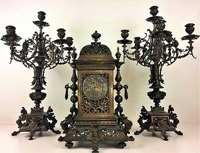 Mantel Clock And Chandeliers Ensemble. Gustav Becker. 363422. Germany.circa 1850