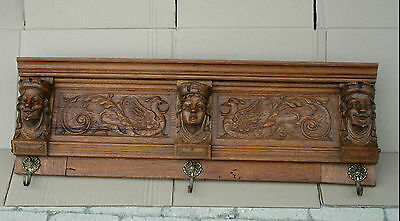 1950 Wood carved Coat Wall rack with medieval head griffon dragon gothic French