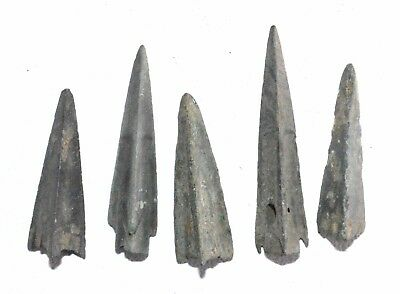 Lot Of 5 Ancient Bronze Arrow Heads - Ancient Historical Artifacts Superb - M828