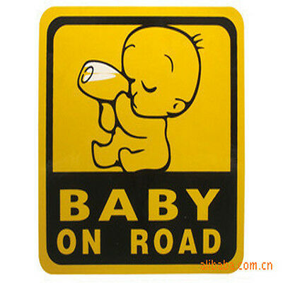 """""""baby on road"""" Baby Car Rear Window Yellow Safety Sign Sticker High Visibility"""