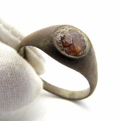 Late Medieval Ring W/ Glass In Bezel - Rare Ancient Artifact Wearable - M697