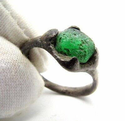 Medieval/saxon Era Ring W/ Green Stone Cross Bezel - Rare Ancient Wearable M699