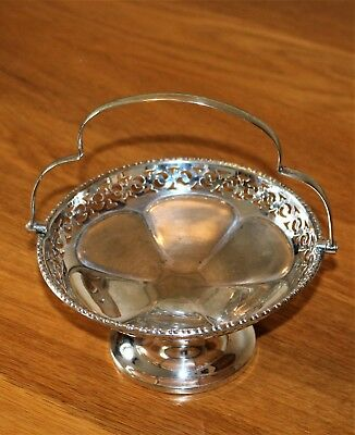 Vintage  BON BON Dish with Swing Handle - Siver Stamp... Made in England