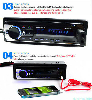 1 DIN Car Stereo Head Unit MP3 Player 12V FM Radio Bluetooth Remote SD/USB/AUX