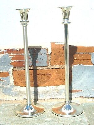 FINE PAIR OF SLIM AND TALL SILVER PLATED CANDLE STICKS HOLDERS 562 g FROM GREECE