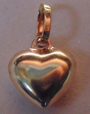 14k Yellow Gold Puffed Heart Charm Pendant