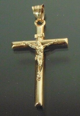 10k Yellow Gold Crucifix with detailed Jesus Cross Pendant