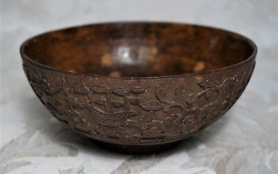 Antique Rare Fine Quality Chinese 19th C Birds Flowers Carved Coconut Tea Bowl