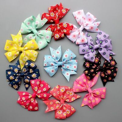 Handmade Pet hairpins puppy Hair Clips Dogs cat Bows Ribbon bowknot Grooming