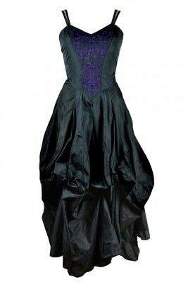 DarkStar Gothic Black Faux Silk Purple Embroidered Ruched Hitched Dress 12-16