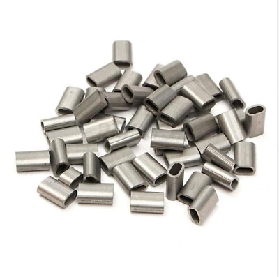 50PCS 1/16'' Stainless Steel Silver Cable Crimp Sleeve 1.5mm