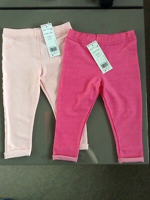 2 X Girls Pink Jeggings 12-18 18-24 Months F&F New With Tags