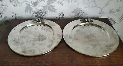 A Pair of Vintage Silver Plated Christmas Charger Plates