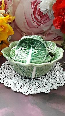 Vintage Small Bordallo Pinheiro Cabbage Leaf  Set Portugal size 13x13x7 cm