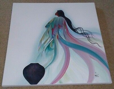 Authentic Signed Painted Original Painting by Bill Rabbit of a Native American