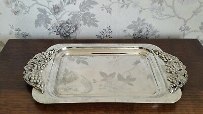A Stunning Vintage Silver Plated Tray with Ornate Grape and Vine Handles