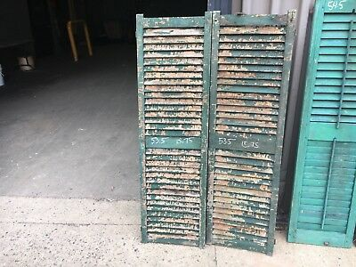 """PaiR 19th century louvered victorian window house shutter MAINE 53.5"""" x 15.75"""""""
