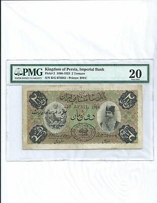 Imperial Bank of Persia 2 Tomans 1918 PMG 20 UNRESTORED!! Rare!