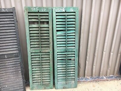 PaiR 19th century louvered victorian window house shutter MAINE 54.5 x 16 -AS IS