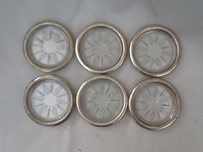 Set Of 6 Glass And Silver Plated Coasters