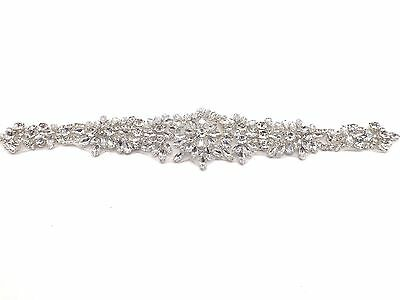 Beautiful Sew Iron On Rhinestone Crystal Motif Wedding Dress Sash Belt