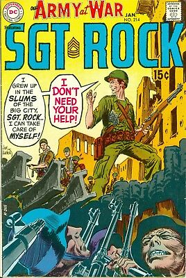 Our Army at War #214. Jan 1970. DC. Starring Sgt. Rock. VG/FN.