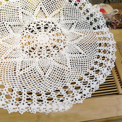 Vintage Style Deco Craft Handmade Crochet White or Off White Table Cloth