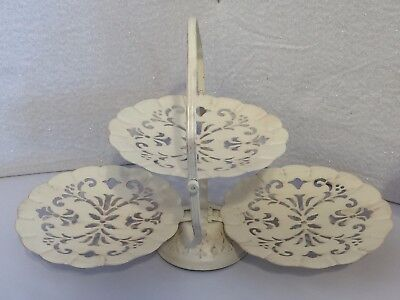 Clam Shell Metal Fold Up Tiered Filigree Serving Tray Dessert Hors d'oeuvers