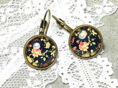 Round French Earrings Cabochon with Roses Pattern Antique Bronze Plating Metal