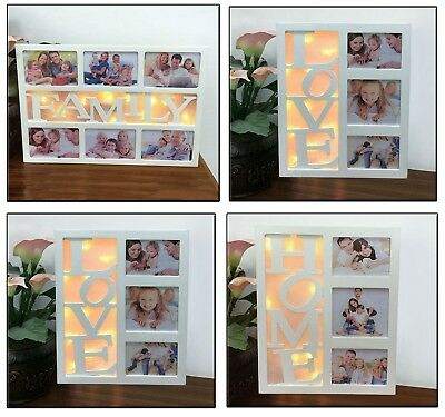 10 LED Warm White FAMILY HOME LOVE Multi Photo Picture Frame Christmas Xmas Gift